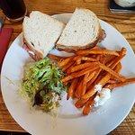 Yummy steak sandwich with sweet potato fries!