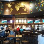 """The decor emphasizes """"World"""" of beer."""