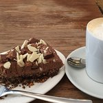 Mars Bar cheesecake and decaf latte