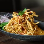 Khao Soi, Yellow Curry with Chicken and Crispy Egg Noodles
