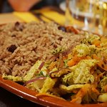 Side dish of rice and veg