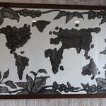 World map in coffee beans.