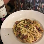 Pasta special: cheese sauce with bacon and mushrooms