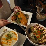 sea food stew, poke bowl and the mixed plate! such YUM!