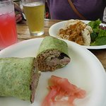 ahi wrap and tropical tacos with two types of tea