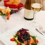 Grilled Salmon with Baby Spinach, Warm Garlic Balsamic Vinaigrette