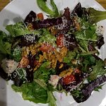 Delicious Roasted Beet Salad with Walnuts and chunks of Bleu Cheese