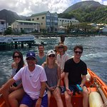 The boat ride for snorkeling and water taxi, driven by Captain Peter