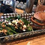 Caribou burger and side salad