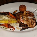 Surf and turf special and bbq shrimp and grits