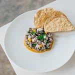 Fresh Trevally ceviche, mango spiced puree, papadums