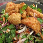 Salt and pepper calamari salad