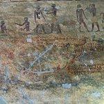 Coptic graffiti and pecked representation of a boat.