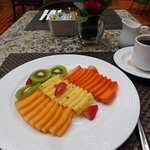 nicely presented fruit, waiter a little clumsy with the coffee -