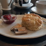 Freshly made scone with homemade raspberry jam and a wee cuppa just the ticket