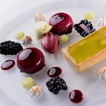 Duo of Apple Tart and Blackcurrant Mousse