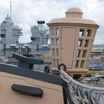 The new and the old: HMS Queen Elizabeth seen from the deck of HMS Victory
