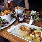 Big meal! Vegetarian sweet potato, spinach and feta cheese pie with chips and roast veg closest.