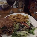 Burger, fries and salad.