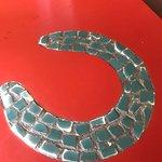 Beautiful inlay of Horseshoe La Herradura in Formica Table