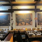 Wall decor inside restaurant