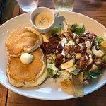 Ceasar salad with pancakes