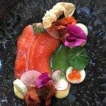 Apple Cured Ōra King Salmon, Rhubarb Kimchi, Wild Weeds Puree & Salmon Caviar