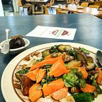 Lunch at the Christchurch Exchange cafe. Some really yummy root vege salad and a vegan choc date