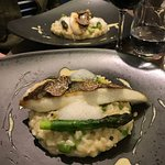 Risotto with Truffle, Asparagus, and fish