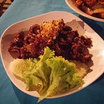 Garlic pepper beef (I think!) Or could be a dry penang beef. Can't remember but I know it was lu
