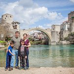The view of the Stari Most from the riverside.