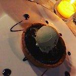 Chocolate tart with pistachio ice cream...wow wow wow!