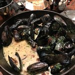Mussels with mushrooms & bacon