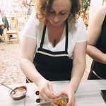 Very focused while making my chocolates with candied orange peel!