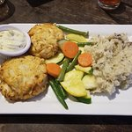 Crab cakes, veggies and smashed taters