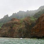 Coastline scenery viewed from catamaran
