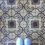 Beautiful cement tile balcony floor