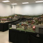 This is a great interactive model train display.