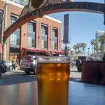 Beer under the Gaslamp Sign