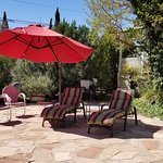 Place to relax with shade, looks out to the Dixie rock and back yard