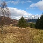 View of snow capped hill from Glencoe woods