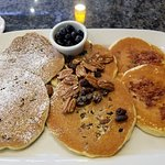 Blueberry, Raisin Nut and Bacon pancakes. This was the Flight to Pancake Nirvana!
