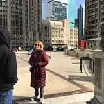 Our awesome Chicago Greeter Guide, Sharon, telling us the story of Jean Baptiste Pointe DuSable.