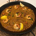 Just excellent seafood paella