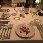 First of 8 courses from the Gourmet Menu - cutlery promises good things to come!