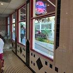 Inside the ice cream parlor