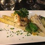 Monk fish over white aspargus- Yum