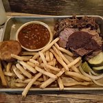 BBQ Combo platter: brisket and pulled pork with beans and fries