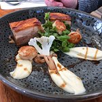 Pork Belly with Scallops and Cauliflower
