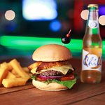 Aruba Burger with Funchi Fries and Local Beer Chill